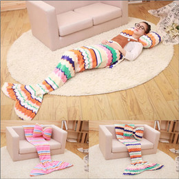 Wholesale Kids Mermaid Blankets Mermaid Tail Blankets Mermaid Tail Sleeping Bag Sofa Nap Air Condition Blankets Super Soft Bedroom Blankets A1238