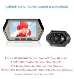 Video Eye 4.3inch LCD 0.3 Megapixels door camera IR night vision PIR Motion Detection 32 Rings 3X Zoom video eye