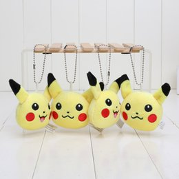 Wholesale Anime Cartoon Poke Center Pikachu Soft Plush Toy Keychain Pendants Stuffed Plush Toy With Ring cm