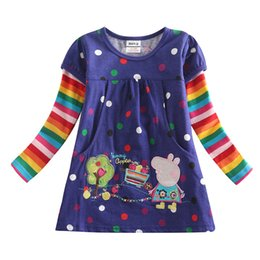 Wholesale Girl Dress Girls Long Sleeve T shirt Polka Dot kids Spring Autumn T shirt Cartoon Cute Tees for Baby Girls F2178