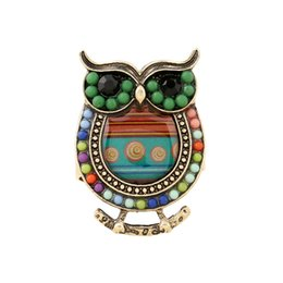 Wholesale Vintage Punk Ring Owl With Colorful Beads Rings China Jewelry Fashion Cheap Alloy Ring Ancient ZA0015