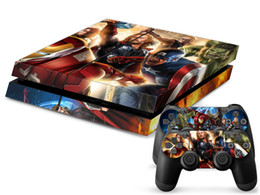 Cool Super Heroes Vinyl Decal PS4 Skin Sticker for Sony Playstation 4 Console+2 PCS Controller Protective Skin Stickers