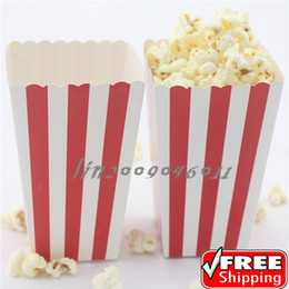 Wholesale 36pcs Red Striped Paper Popcorn Boxes Old Fashioned Carnival Circus Retro Party Red and White DIY Candy Buffet Snack Paper Treat
