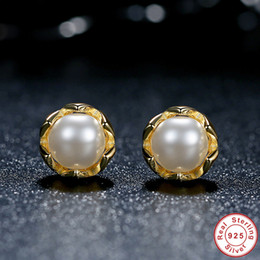 Vintage 100% 925 Sterling Silver Cultured Elegance Stud Earrings with White Freshwater Cultured Pearl 14k Gold Plated ER030