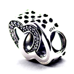 Entwined Love, Clear CZ 100% 925 Sterling Silver Bead Fit Pandora Fashion Jewelry DIY Charm Brand