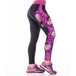 Polainas de la impresión de poliéster en Línea-2016 Alto Elástico Delgado Leggins Sexy Polyester Mujeres Spandex Leggings Fitness Workout Pantalones 3D Imprimir Pantalones