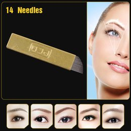 Wholesale Copper PCD Permanent Eyebrow Makeup Manual Tattoo Bevel Blades 14 Needles 50Pcs lot Free Shipping