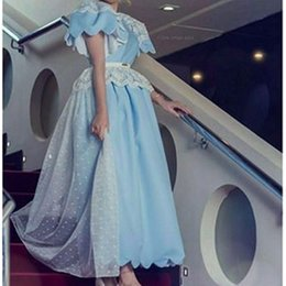 2016 Light Blue Saudi Arabia Evening Dresses A Line Satin Lace Tulle Cap sleeve Evening Gowns