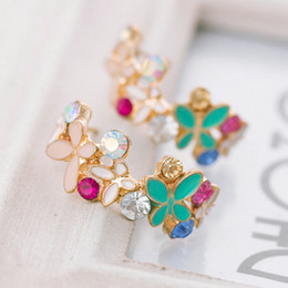 Fashion Fine Jewelry Gold Rhinestone Colorful Flowers Dazzling C-type Butterfly Stud Earrings For Women