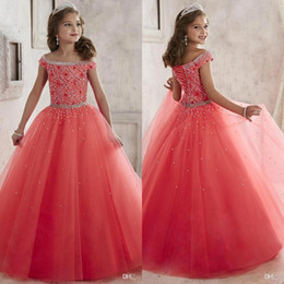 Wholesale 2016 Sparkly Off The Shoulder Beaded Crystal Pageant Dresses for Teens Tulle Floor Length Lace up Back Girl Prom Dresses Custom Made