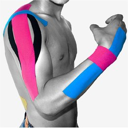 Wholesale 6 Rolls m x cm Sports Tape Kinesiology Muscle Tape Cotton Elastic Adhesive Care Fitness Athletic Health Muscle Bandage