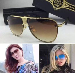 Wholesale Dita logo sunglasses new dita Decade Two sunglasses women brand designer metal square shape retro men design Usher oversize gold plated