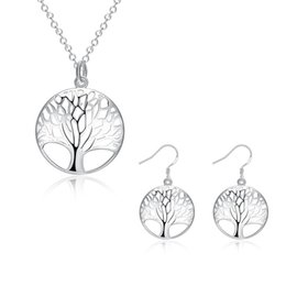 Fashion Women 925 Sterling Silver Plated Life Of Tree Charm Pendant Necklace Earrings Bridal Jewwlry N802