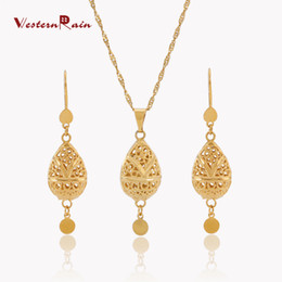 Westernrain 2017 High Quality Gold Jewelry 24K China Fashion Pendant Necklace & Earrings Sets Women Jewelry Wholesale Free Shipping G677