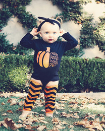 Wholesale Baby Halloween Rompers cartoon pumpkin printing Jumpsuits Long Sleeve top headband Leggings socks set children Climbing clothes C1256