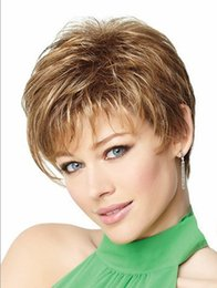 Natural highlights short blonde wig afro hair, puffy straight short wigs for black women free ship