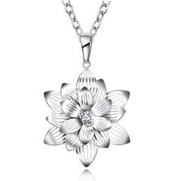 Wholesale Long Necklace Charm Classic beauty Lotus neckllace Flower Photo Locket Frame Pendant Explosions Silver Necklace Long Set Friend Bib Necklace