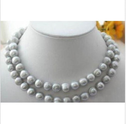 """Rare good quality 11-13MM gray south sea natural Pearl Necklace 35"""" 14K clasp"""