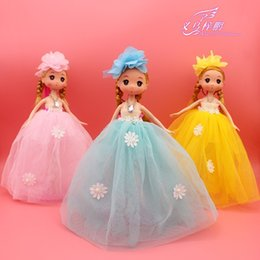 Wholesale 2016 New Cute Beautiful Ball Gown Big Flower Hair Accessory PVC Doll For Little Girl Gift