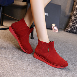 Wholesale 2016 Autumn New women Boots Round Head Thick Soles Boots Increased Within Women Boots Short Tube Real Leather Casual Martin Boots