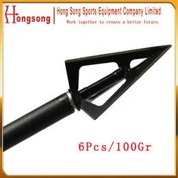 High Qualitty 6Pcs Hunting Broadheads 3Blades Fixed Blade Hunting Arrow Head Broadheads 100Grain Archery Arrowhead Free Shipping