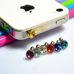 Wholesale Funny diamond Mobile Phone Dust Proof Plug all phones for mm earphone plus Random colorful