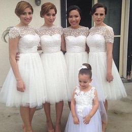 White Short Bridesmaid Dress Short Sleeve Backless A-Line Maid Of Honor Party Gowns Custom-made Knee-Length Party Dresses