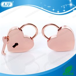 Wholesale AJF Nickel Free Plated Rose Gold Heart Shape Metal Padlock A01 HG for lovers