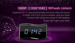 Promotion camera ip ir cachée Wireless Wifi IP 1080P Horloge HD Spy caméra cachée IR Réseau de sécurité Web Cam Spy Clock Camera Détection de mouvement Camera Nanny Monitor Camera