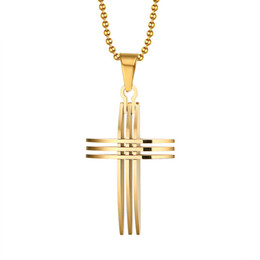 fashion cross necklace pendants 18K gold plated stainless steel With 20inch chain for women men PN-127