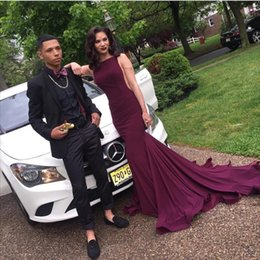 Hot Cheap Burgundy Prom Dresses 2k16 Boat Neck Sexy Sleeveless Backless Sweep Train Long Mermaid Formal Evening Party Dress