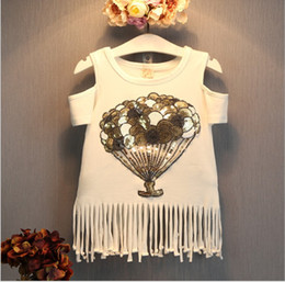Fashion Girls T-shirt Dress 2018 Summer Children White Flower Sequins Tassels Skirt Kids Clothing Baby Girl Casual T-shirts 5pcs lot