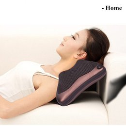 Wholesale Neck Massager Electric Nap Pillow Massage Pillow AC220V DC12V for Home Car with retail box pakage