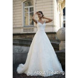 Wholesale 2016 Avril Tank Illusion Neckline Lace Wedding Dresses A line Custom Made Lebanon Design Bridal Gown