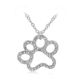 Wholesale Crystal Pendant Necklaces Cats Dogs Paw Hollow Out Full CN Diamond Pendant Necklace Pets Fashion Jewelry Silver Plating Hot New Arrival
