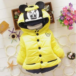 Wholesale Kids Down Coat 4t - Free shipping new baby girl winter coat 2016 Children cartoon Outerwear girls Winter Coat minnie mouse baby kids jackets