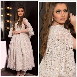 Lace Arabic Prom Dresses 2016 Jewel Neck Long Cap Sleeve Ruffle Middle East Party Evening Wear A line Ankle Length Party Formal Gowns