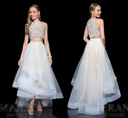 Wholesale 2 Piece Ensemble Featuring A Crystal Embellished Midriff Top And Sheer Gathered Mesh Skirt With Ribbon Accented High low Hemline prom dresse