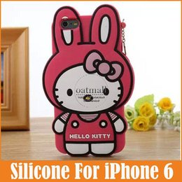 Fashion cute cartoon 3D Hello Kitty lovely Rabbit Soft Silicone Cover Back Rubber Case For iPhone 6 4.7