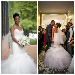 Wholesale 2016 Top Sale Backless Mermaid UK Wedding Dresses Vintage Sweetheart Tulle Ruffles Tiered Skirts Sexy African American Bridal Gowns Bandage