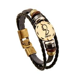 Zodiac Bracelet twelve constellation Men Jewelry Fashion Vintage Cool Male Bracelets Bangles Pulseira De Couro masculina zodiac mens jewelry