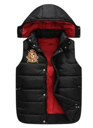 Wholesale Free send Men PoLo cotton wool collar hooded down vests sleeveless jackets plus size quilted vests Men PAUL vests outerwear S XXL