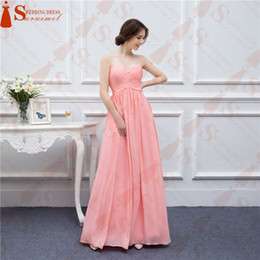 Long Bridesmaid Dresses Coral Chiffon Sweetheart Cheap Brides Maid Dress Real Photo Free Shipping 2018 vestidos de noiva festa
