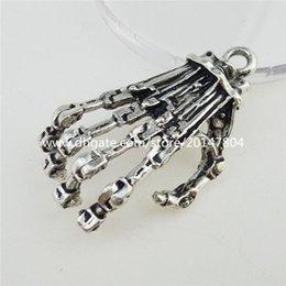 Wholesale 12917 Antique Sliver Tone Large Skeleton Ghost Specter Skull Hand Pendant