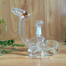 Wholesale USA clear dino glass bongs glass water pipes oil rigs with slitted cuts perc and mm joint size