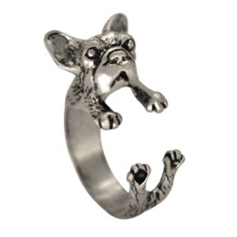 Wholesale 10pcs Sapphire Jewelry French Bulldog Ring Animal French Bulldog Ring Animal Dog Ring Anillos De Animales Women rings