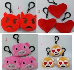 fashion 5.5cm Emoji Monkey love Pig Keychain Emotion QQ Expression Stuffed Plush Doll Toy for M