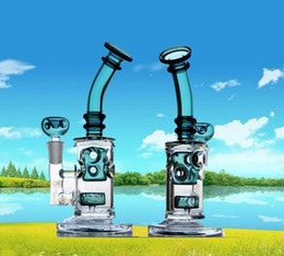 Real Images Glass Bongs Water Pipes 14.4mm Joint Headshower Perc Recycler Oil Rigs Glass Bongs with Matching Bowl Hookah