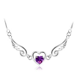 925 sterling silver items crystal jewelry statement necklaces angels wings wedding love heart chain for woman