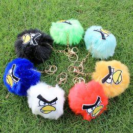 Wholesale Hot Sale Imitation Fox Fur Ball Key chain with Angry Bird cute jewelry Key Chain for Women s Cellphone Car Pendant Bag Ornaments Bird head